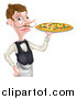 Vector Illustration of a Cartoon Caucasian Male Water with a Curling Mustache, Holding a Pizza on a Tray by AtStockIllustration