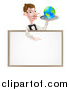 Vector Illustration of a Cartoon Caucasian Male Water with a Curling Mustache, Holding Earth on a Tray and Pointing down over a Blank Menu Sign Board by AtStockIllustration