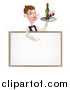 Vector Illustration of a Cartoon Caucasian Male Water with a Curling Mustache, Holding Red Wine on a Tray and Pointing down over a Blank Menu Sign Board by AtStockIllustration