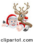 Vector Illustration of a Cartoon Christmas Red Nosed Reindeer and Santa Giving a Thumb up over a Sign by AtStockIllustration