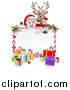 Vector Illustration of a Cartoon Christmas Red Nosed Reindeer and Santa over a Blank White Sign and Gifts by AtStockIllustration