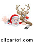 Vector Illustration of a Cartoon Christmas Red Nosed Reindeer and Waving Santa over a Sign by AtStockIllustration