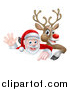 Vector Illustration of a Cartoon Christmas Rudolph the Red Nosed Reindeer and Waving Santa over a Sign by AtStockIllustration