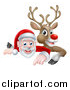 Vector Illustration of a Cartoon Christmas Santa Claus and Red Nosed Reindeer Pointing down over a Sign by AtStockIllustration
