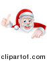 Vector Illustration of a Cartoon Christmas Santa Claus Pointing down over a Sign and Giving a Thumb up by AtStockIllustration