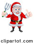 Vector Illustration of a Cartoon Christmas Santa Holding a Garden Fork and Giving a Thumb up by AtStockIllustration