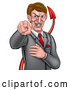 Vector Illustration of a Cartoon Corrupt White Devil Business Man Pointing Outwards, from the Waist up by AtStockIllustration