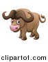 Vector Illustration of a Cartoon Cute African Safari Cape Buffalo by AtStockIllustration