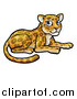 Vector Illustration of a Cartoon Cute Leopard or Jaguar Resting by AtStockIllustration