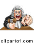 Vector Illustration of a Cartoon Fierce Angry Caucasian Male Judge Spitting, Holding a Gavel and Pointing at the Viewer by AtStockIllustration