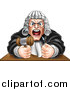 Vector Illustration of a Cartoon Fierce Angry Male Judge Spitting, Holding a Gavel and Pounding a Fist into a Podium by AtStockIllustration