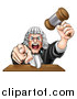 Vector Illustration of a Cartoon Fierce Angry White Male Judge Spitting, Holding a Gavel and Pointing at the Viewer by AtStockIllustration