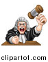 Vector Illustration of a Cartoon Fierce Angry White Male Judge Spitting, Holding a Gavel and Slamming His Fist down by AtStockIllustration