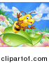 Vector Illustration of a Cartoon Friendly Bee Waving and Flying over Leaves and a Flower Garden by AtStockIllustration