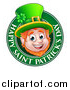 Vector Illustration of a Cartoon Friendly Leprechaun Face in a Happy Saint Patricks Day Greeting Circle by AtStockIllustration