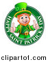 Vector Illustration of a Cartoon Friendly Leprechaun Giving Two Thumbs up in a Happy Saint Patricks Day Greeting Circle by AtStockIllustration
