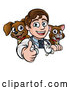 Vector Illustration of a Cartoon Friendly Male Veterinarian Giving a Thumb up over a Sign with a Cat and Dog Behind Him by AtStockIllustration