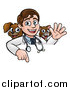 Vector Illustration of a Cartoon Friendly Male Veterinarian Waving and Pointing down over a Sign with a Cat and Dog Behind Him by AtStockIllustration