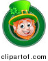 Vector Illustration of a Cartoon Friendly St Patricks Day Leprechaun Face in a Green Circle by AtStockIllustration