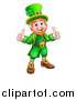 Vector Illustration of a Cartoon Friendly St Patricks Day Leprechaun Holding up Two Thumbs by AtStockIllustration