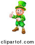 Vector Illustration of a Cartoon Friendly St Patricks Day Leprechaun Pointing and Giving a Thumb up by AtStockIllustration