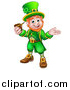 Vector Illustration of a Cartoon Friendly St Patricks Day Leprechaun Presenting and Holding a Pipe by AtStockIllustration