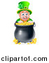 Vector Illustration of a Cartoon Friendly St Patricks Day Leprechaun Smiling over a Pot of Gold by AtStockIllustration