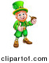 Vector Illustration of a Cartoon Friendly St Patricks Day Leprechaun Smoking a Pipe and Giving a Thumb up by AtStockIllustration
