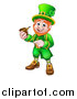 Vector Illustration of a Cartoon Friendly St Patricks Day Leprechaun Smoking a Pipe and Pointing by AtStockIllustration