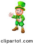 Vector Illustration of a Cartoon Friendly St Patricks Day Leprechaun Waving and Giving a Thumb up by AtStockIllustration