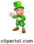 Vector Illustration of a Cartoon Friendly St Patricks Day Leprechaun Waving and Pointing by AtStockIllustration
