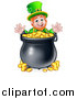 Vector Illustration of a Cartoon Friendly St Patricks Day Leprechaun with a Pot of Gold by AtStockIllustration