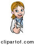 Vector Illustration of a Cartoon Friendly White Female Doctor Giving a Thumb up Around a Sign by AtStockIllustration