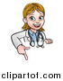 Vector Illustration of a Cartoon Friendly White Female Doctor Pointing down over a Sign by AtStockIllustration