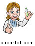 Vector Illustration of a Cartoon Friendly White Female Scientist Holding a Test Tube and Giving a Thumb up over a Sign by AtStockIllustration