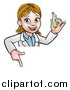 Vector Illustration of a Cartoon Friendly White Female Scientist Holding a Test Tube and Pointing down over a Sign by AtStockIllustration