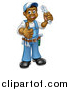 Vector Illustration of a Cartoon Full Length Black Male Plumber Holding an Adjustable Wrench and Giving a Thumb up by AtStockIllustration