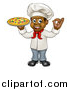 Vector Illustration of a Cartoon Full Length Happy Black Male Chef Gesturing Ok and Holding a Pizza by AtStockIllustration