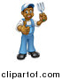 Vector Illustration of a Cartoon Full Length Happy Black Male Gardener in Blue, Holding a Garden Fork and Giving a Thumb up by AtStockIllustration