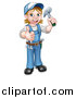 Vector Illustration of a Cartoon Full Length Happy White Female Carpenter Holding up a Hammer and Giving a Thumb up by AtStockIllustration