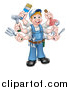 Vector Illustration of a Cartoon Full Length Happy White Handy Man with Six Arms, Holding Tools by AtStockIllustration