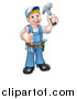 Vector Illustration of a Cartoon Full Length Happy White Male Carpenter Holding a Hammer and Giving a Thumb up by AtStockIllustration
