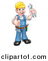 Vector Illustration of a Cartoon Full Length Happy White Male Mechanic Wearing a Hard Hat, Holding a Spanner Wrench and Giving a Thumb up by AtStockIllustration