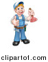 Vector Illustration of a Cartoon Full Length Happy White Male Plumber Holding a Plunger and Giving a Thumb up by AtStockIllustration