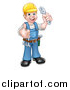 Vector Illustration of a Cartoon Full Length Happy White Male Plumber Wearing a Hardhat, Holding an Adjustable Wrench and Giving a Thumb up by AtStockIllustration