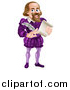 Vector Illustration of a Cartoon Full Length Happy William Shakespeare Holding a Scroll and Feather Quill by AtStockIllustration