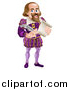 Vector Illustration of a Cartoon Full Length Happy William Shakespeare Holding a Scroll and Quill by AtStockIllustration