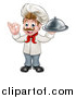 Vector Illustration of a Cartoon Full Length Happy Young White Male Chef Holding a Cloche Platter and Gesturing Perfect by AtStockIllustration