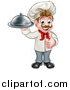 Vector Illustration of a Cartoon Full Length Happy Young White Male Chef Holding a Cloche Platter and Giving a Thumb up by AtStockIllustration