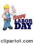 Vector Illustration of a Cartoon Full Length White Male Mechanic Wearing a Hard Hat, Holding a Spanner Wrench and Giving a Thumb up by Happy Labor Day Text by AtStockIllustration